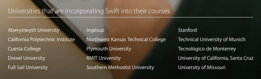 schools using swift